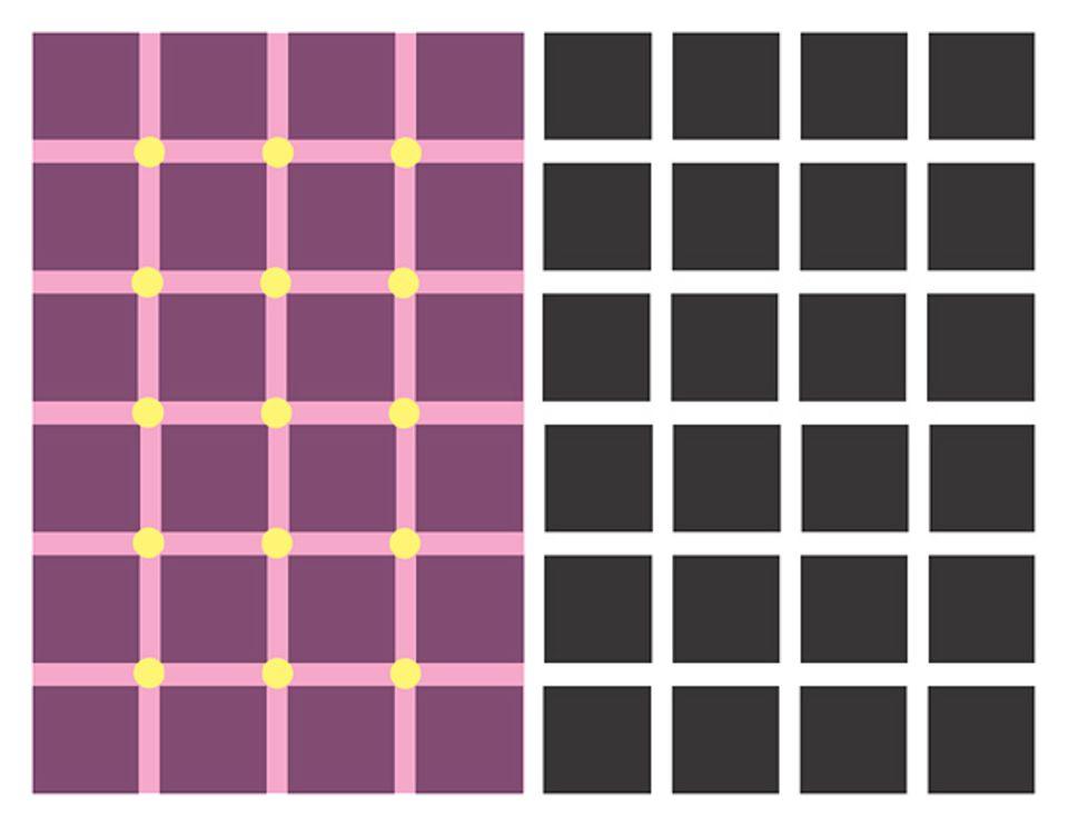 Optische Täuschungen: Was seht ihr auf dem rechten Bild? Einfach nur schwarze Quadrate und weiße Linien! Aber halt. Was sind denn das für graue Punkte, die an den Schnittpunkten der hellen Bänder aufflackern und sofort verschwinden, wenn man sie genauer anschauen will?