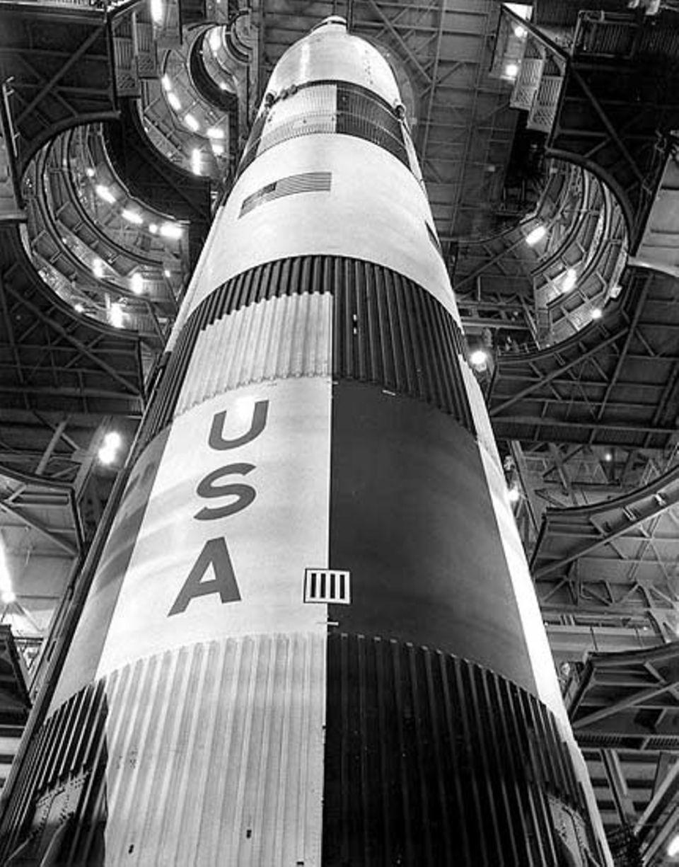 """Mondlandung: Die """"Saturn V"""" ist mit über 110 Metern Höhe noch immer die größte Rakete der Welt"""