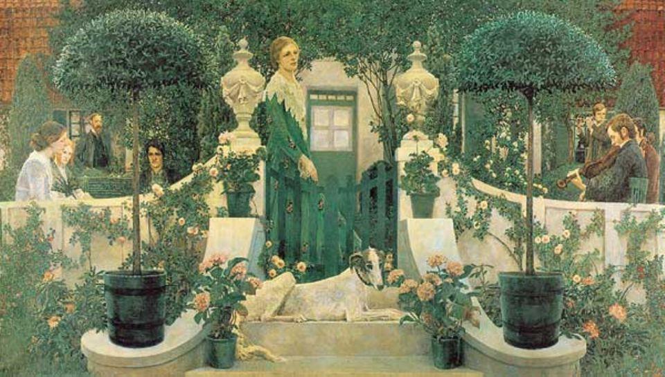 "Heinrich Vogeler, ""Sommerabend"", 1905. Ganz links: Paula Modersohn-Becker"