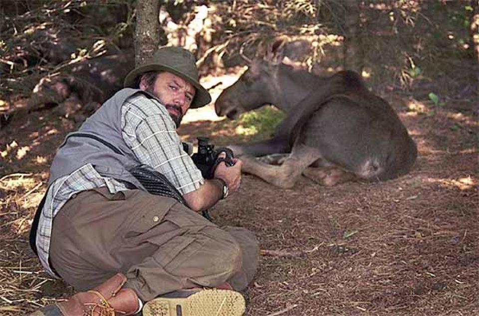 Beruf: Psst! Nicht so laut! Hans-Jürgen Koch robbt sich vorsichtig an zwei Elchkälber heran. Es sind Waisen, die in einer Schutzstation in den USA mit der Flasche aufgepäppelt werden