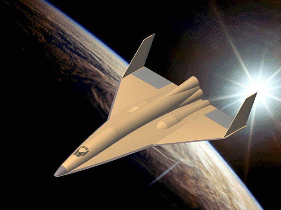 Ein Raumgleiter beim Wiedereintritt in die Erdatmosphäre