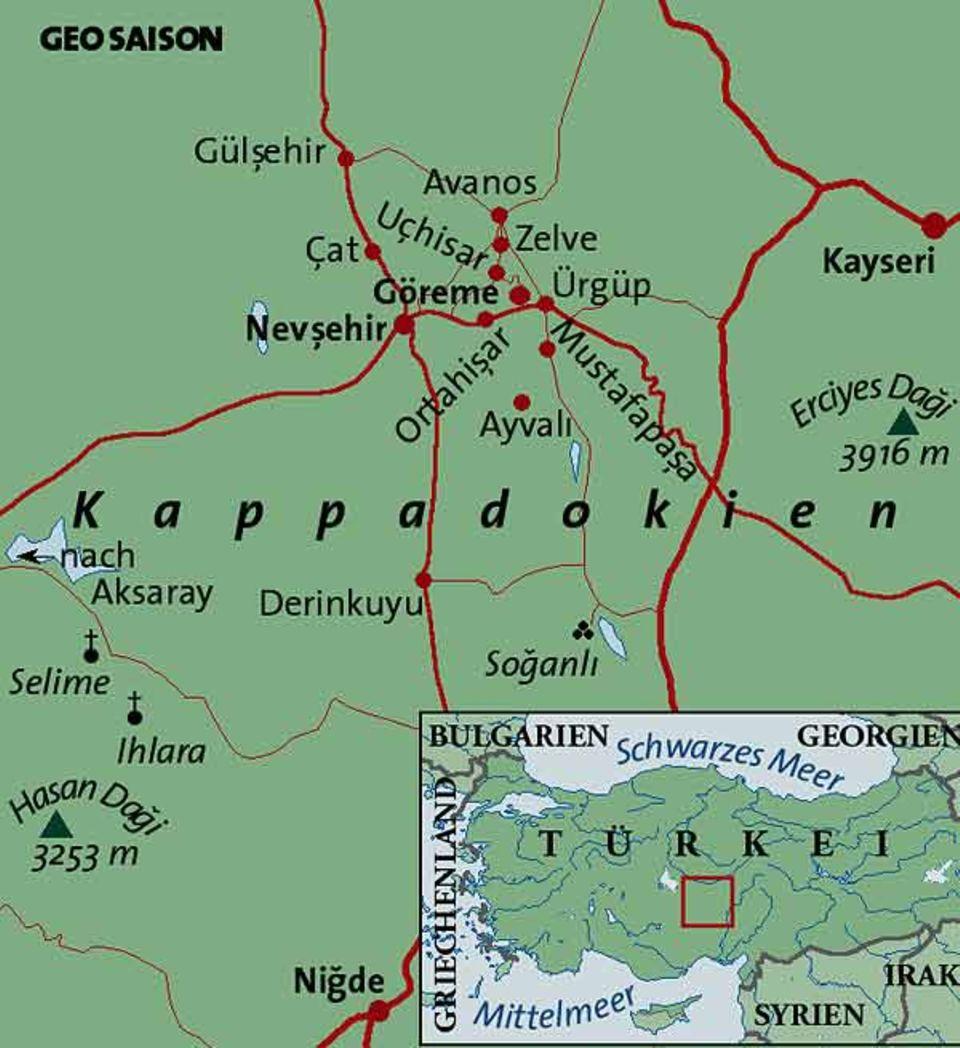 Kappadokien liegt im Herzen von Anatolien, mit Flughafen in Kayseri