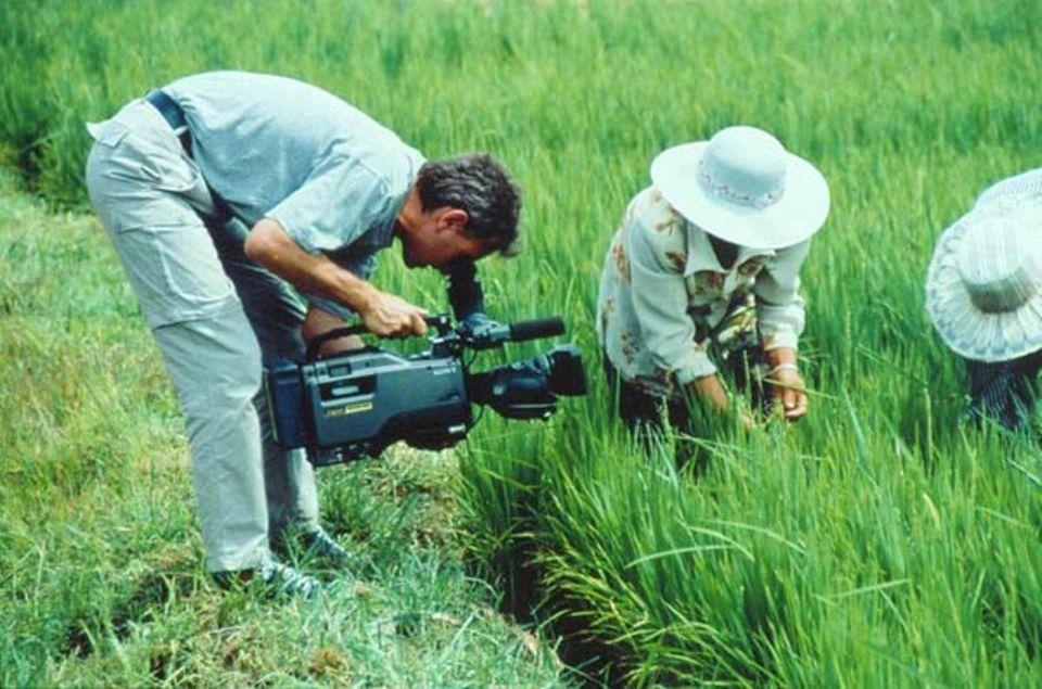 Das GEO-TV-Team dreht auf den Reisfeldern bei Yülin