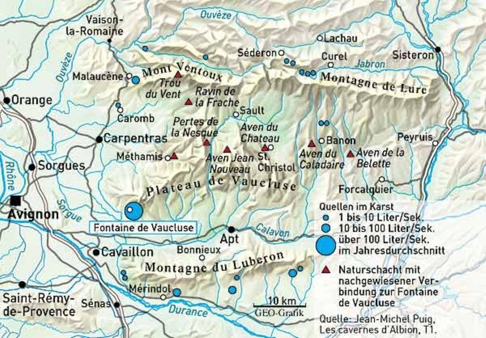 Im Karst, dem die Sorgue entspringt, sind unterirdische Quellen labyrinthisch verbunden