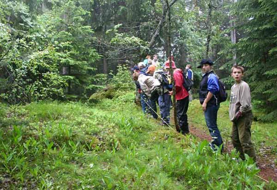Schüler der Hauptschule Innsbruck-Hölting bei Feldstudien