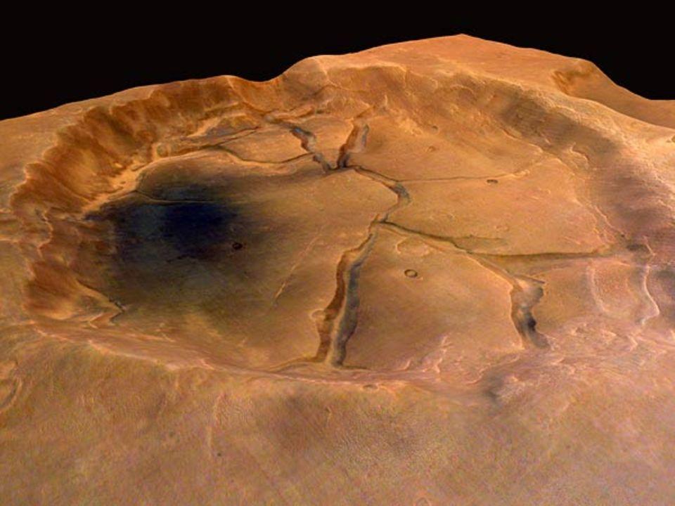 Die Farbigkeit der Marsoberfläche auf den neuen Aufnahmen erstaunt die Forscher. Jetzt rätseln sie über die mineralogische Zusammensetzung der blauschwarzen Sedimente Tälern und Kratern
