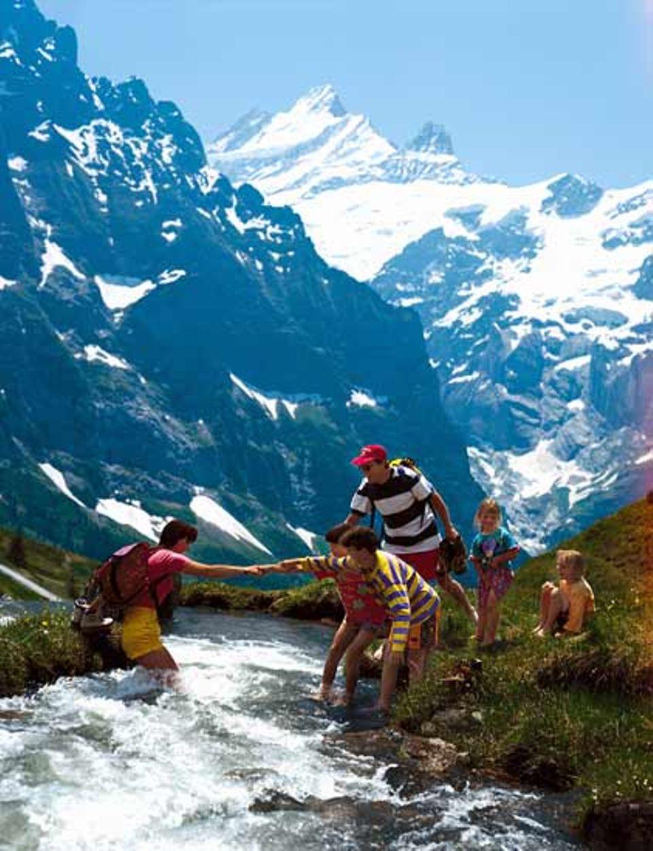 Grindelwald im Berner Oberland. Im Hintergrund Schreckhorn und Lauteraarhorn