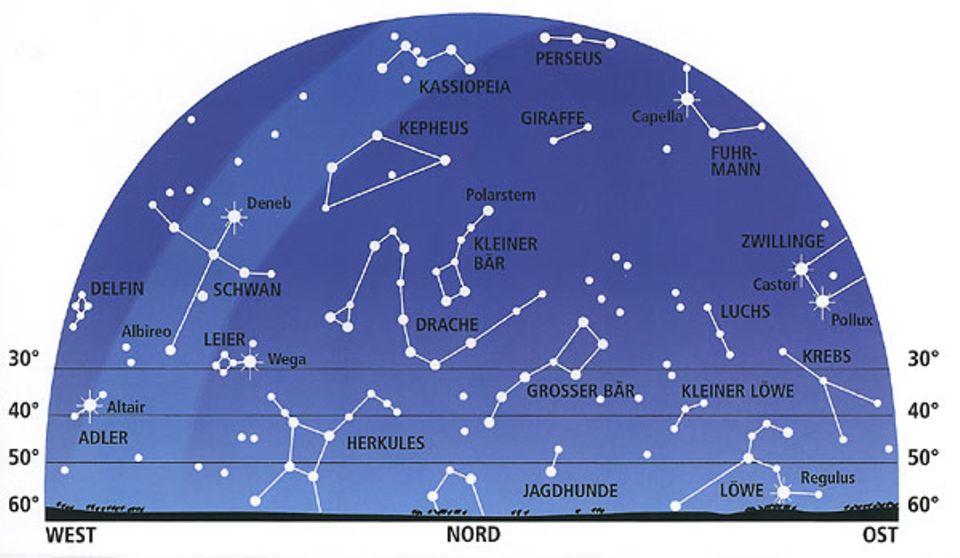 Weltall: Die fünf Sterne des Sternbilds Kassiopeia bilden ein M am Himmel