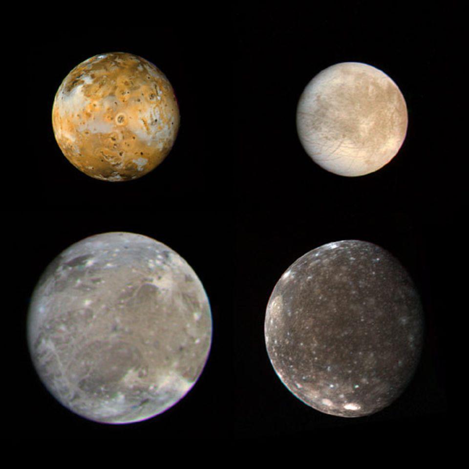 Die Jupiter-Trabanten Io, Europa, Ganymed und Kallisto