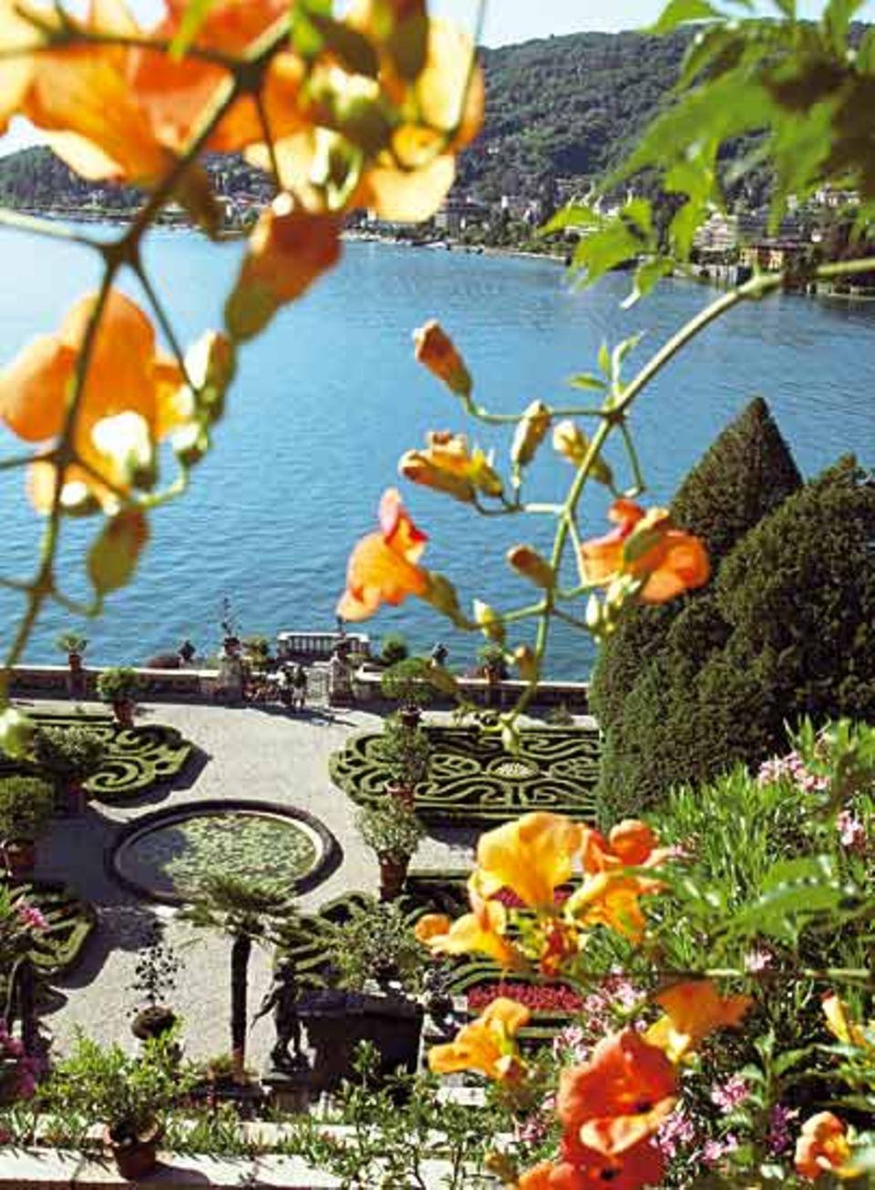 Lago Maggiore: Buchsbäume und Beete im berühmten barocken Terassengarten des Palazzo Borremeo auf der Isola Bella