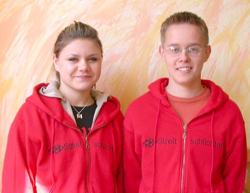 Monika und Simon, Streitschlichter aus der 9. Klasse der Gesamtschule Fischbek