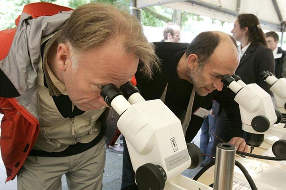 Bundesumweltminister Jürgen Trittin und GEO-Chefredakteur Peter-Matthias Gaede beobachten die Funde der Sammler unter dem Binokular