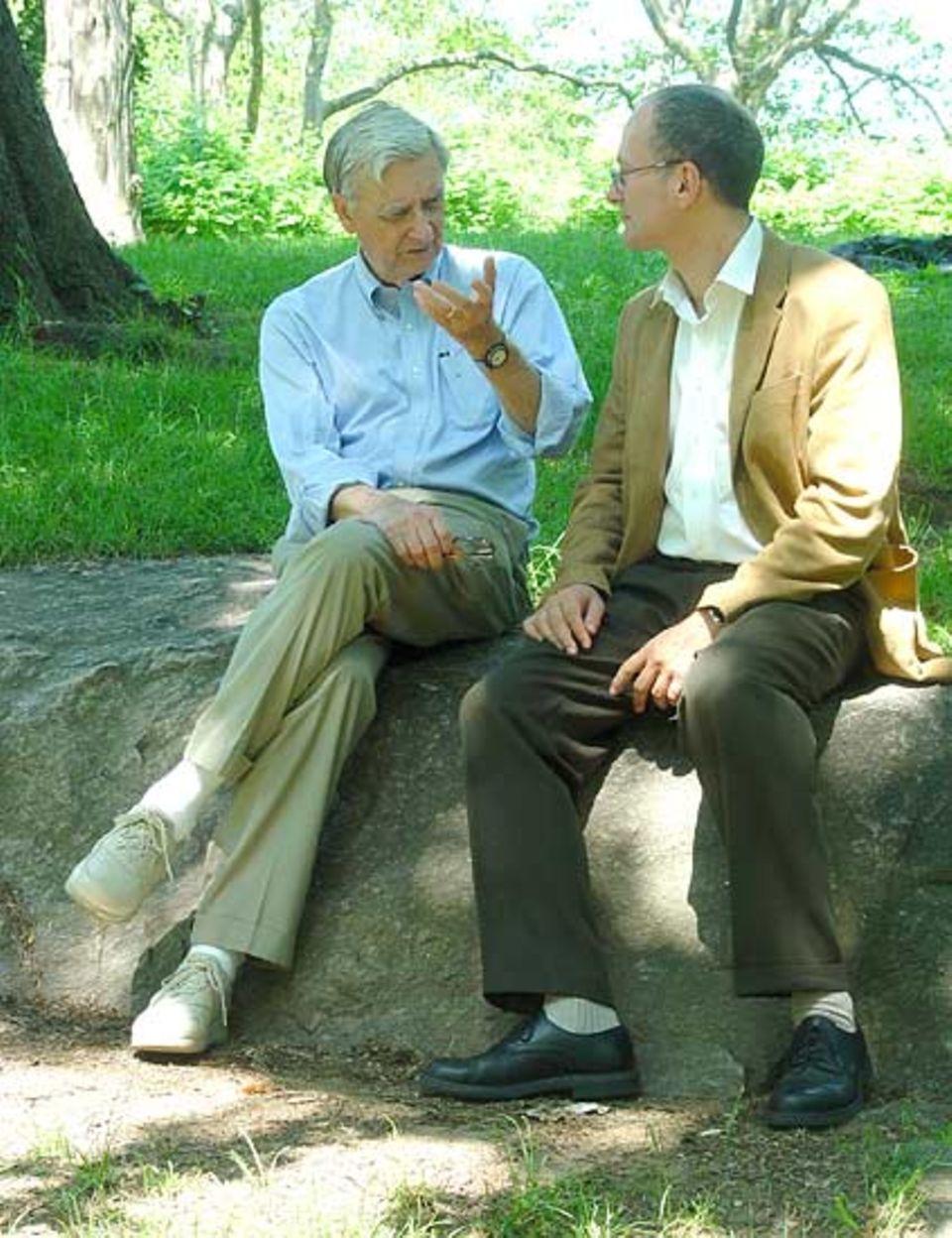 Edward O. Wilson (l.) im Gespräch mit Martin Meister