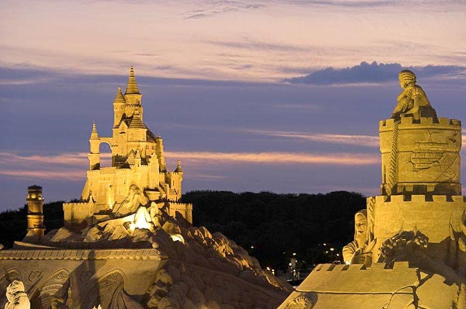 Panorama mit Märchenschloss und Rapunzel bei Nacht