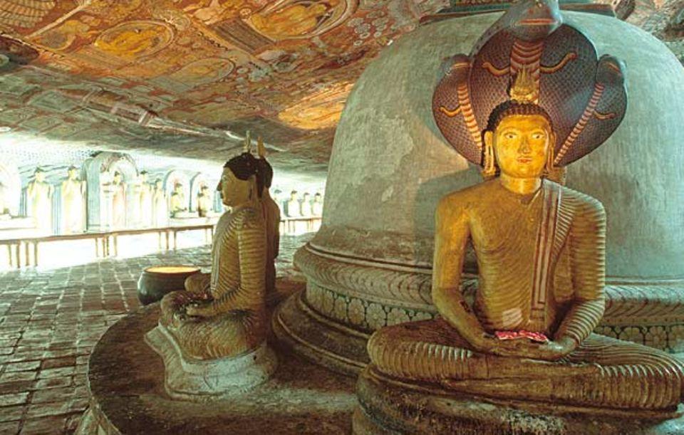 Schon vor Jahrhunderten haben Mönche in den Grotten von Dambulla Zuflucht vor der Welt gesucht und sie mit prächtigen Bildnissen des Buddha zum Tempel ausgeschmückt