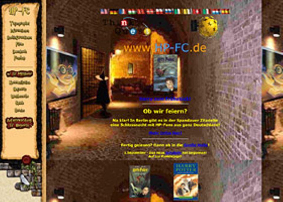 Harry Potter: Die Startseite des Harry Potter Fanclubs im Internet