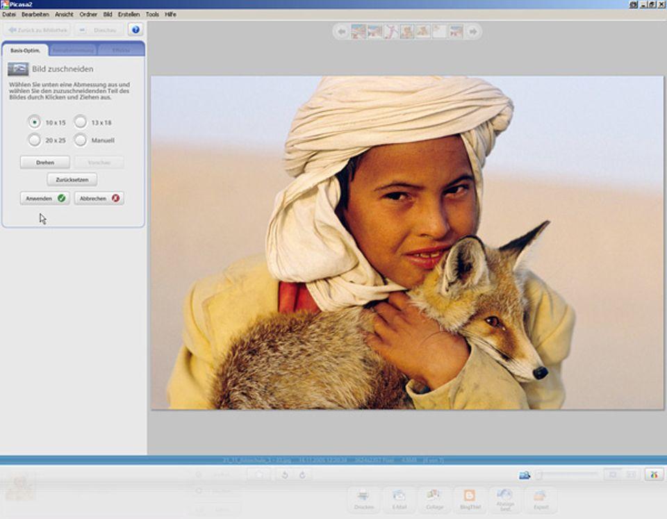 Bei manchen Bildbearbeitungsprogrammen könnt ihr per Knopfdruck angeben, wie groß das Bild sein soll