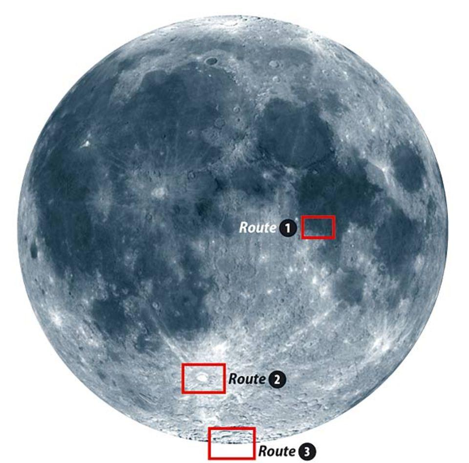 Unsere drei Mond-Routen von der Erde aus gesehen
