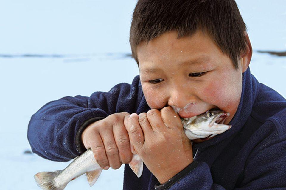 Zum Anbeißen lecker scheint der zehnjährige Julian den kalten, rohen Fisch zu finden, den seine Tante geangelt hat