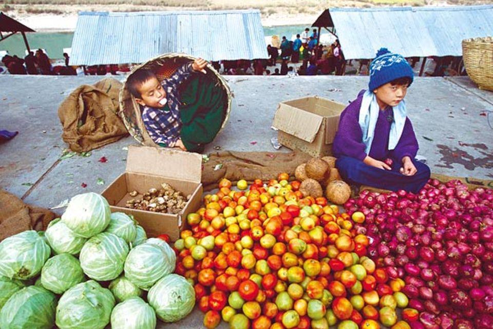Das Obst und Gemüse gibt es zum Beispiel auf dem Markt von Wangdi Phodrang zu kaufen, zwei Fußstunden von Shingkhey entfernt