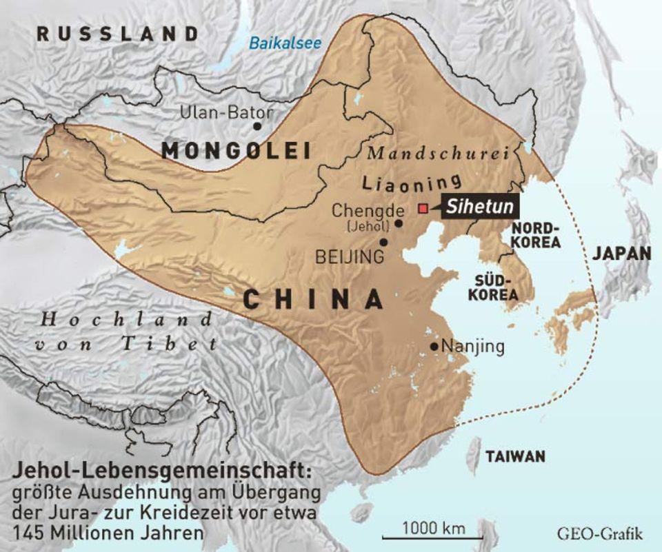 Die Sedimente mit den Fossilien der Jehol-Lebensgemeinschaft erstrecken sich über ein Areal von der Größe Westeuropas