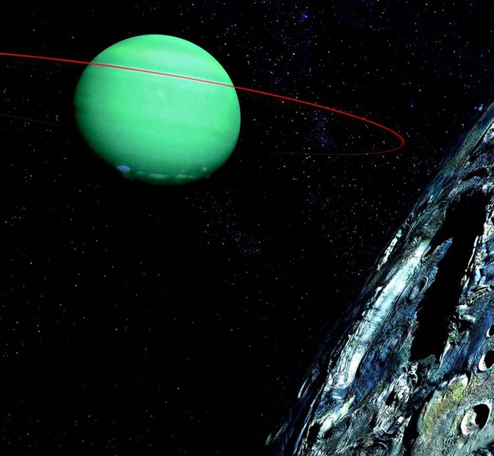 Darstellung eines Planeten außerhalb des Sonnensystems: ein zerfurchter Mond (rechts) begleitet einen riesigen Himmelskörper aus Gas. Astronomen haben bisher rund 170 exosolare Planeten entdeckt, doch Leben wäre wohl nur auf einem festen, erdähnlichen möglich