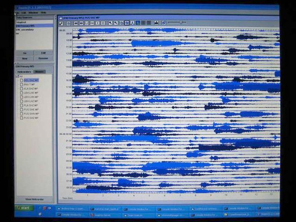 Seismometeraufzeichnung von Feuerwolken