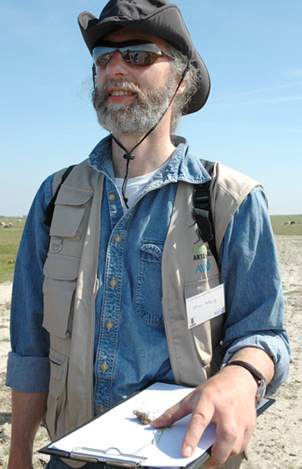 Vegetationskundler Ullrich Hellwig mit einem seltenen Fund: dem Knollen-Fuchsschwanz