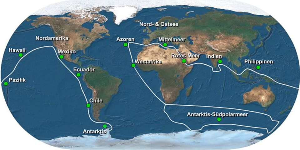"""Die Route der """"SOS Weltmeer""""-Tour"""