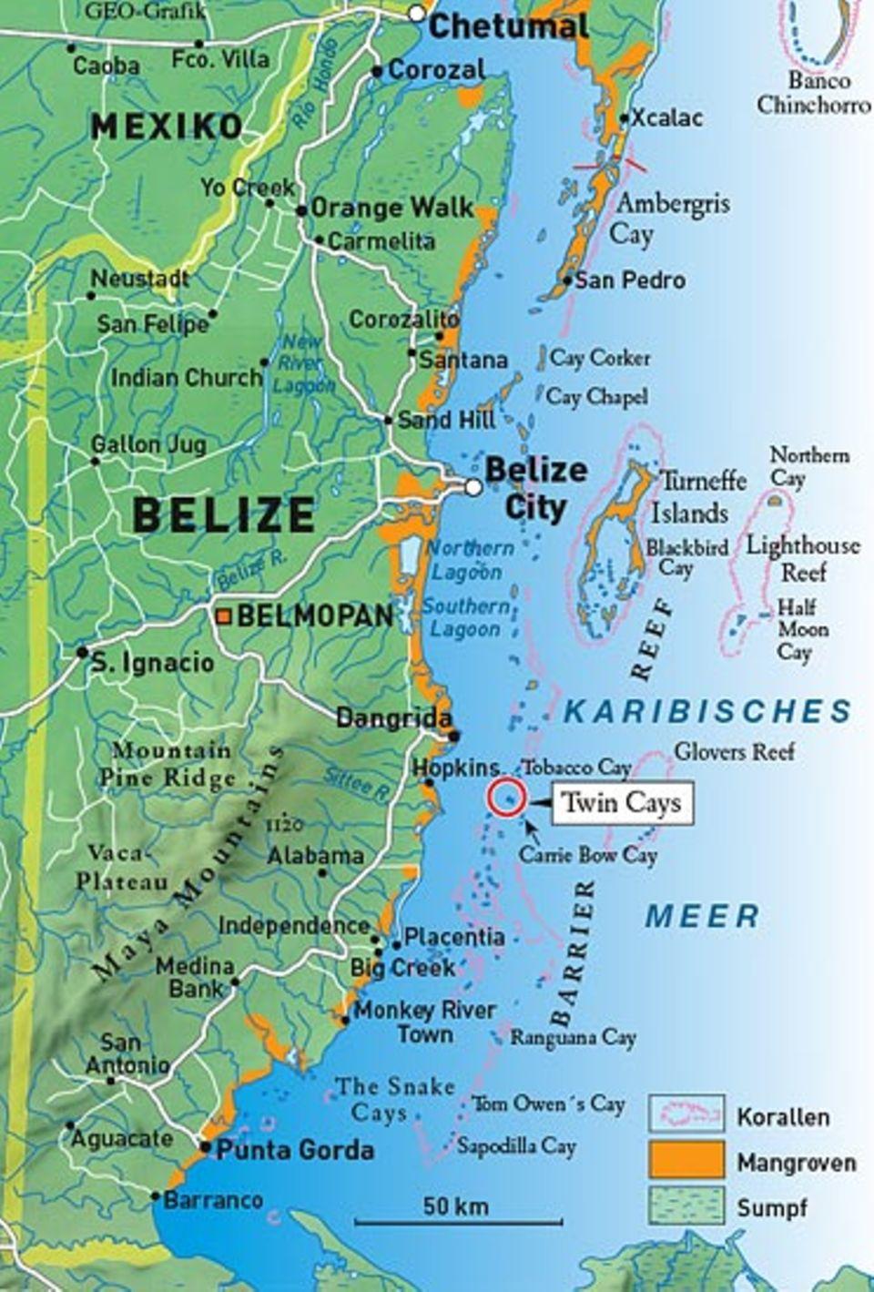 Vor der Küste von Belize dehnt sich ein 220 Kilometer langes Barriere-Riff. Auf dieser Plattform haben sich über 1000 Inseln gebildet