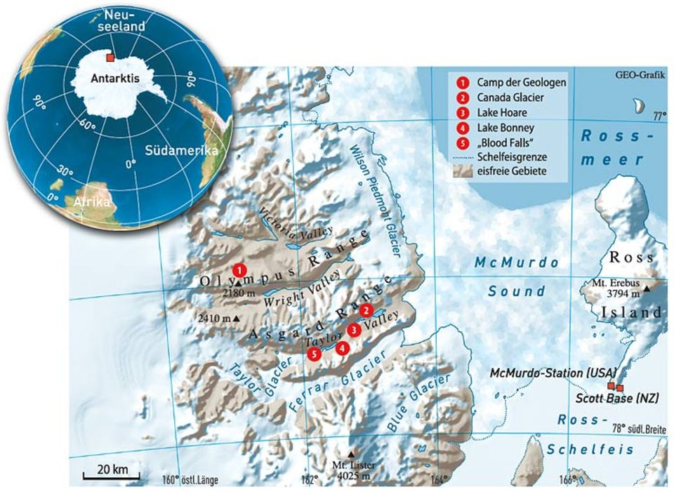 Die Antarctic Dry Valleys: Staubinseln im Eis, 3500 Kilometer von Neuseeland entfernt