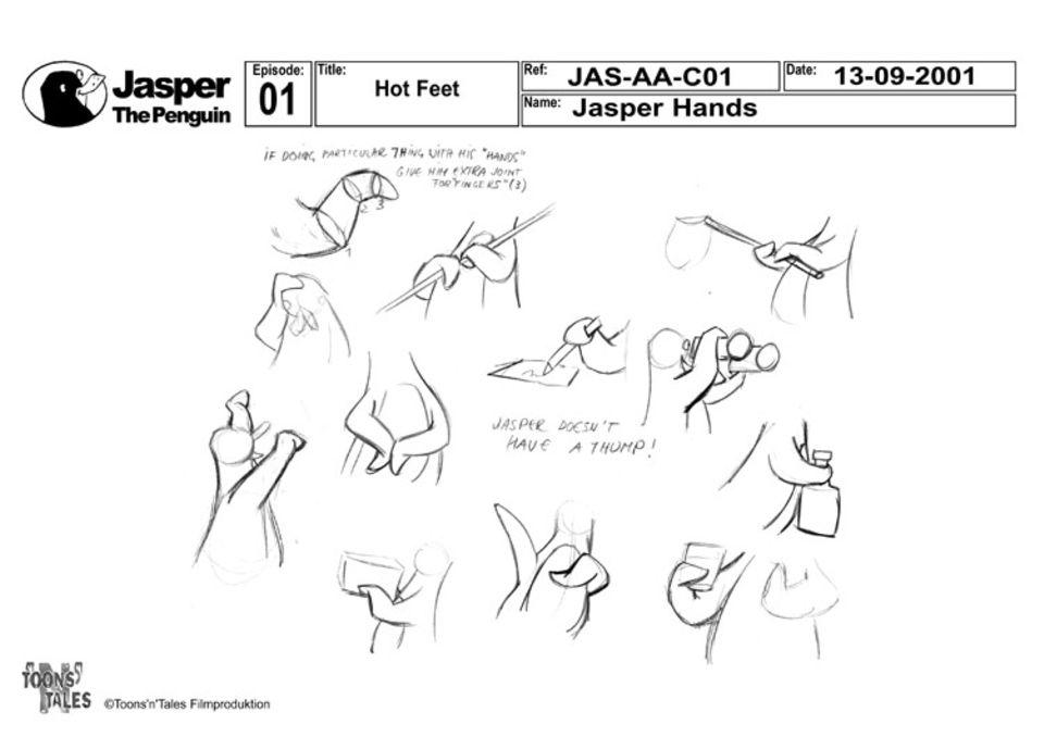 """Filmproduktion: """"Jasper hat keinen Daumen!"""", steht zwischen den Zeichnungen. An dieser Vorlage können die Zeichner sehen, wie Jaspers Hände ausehen müssen"""