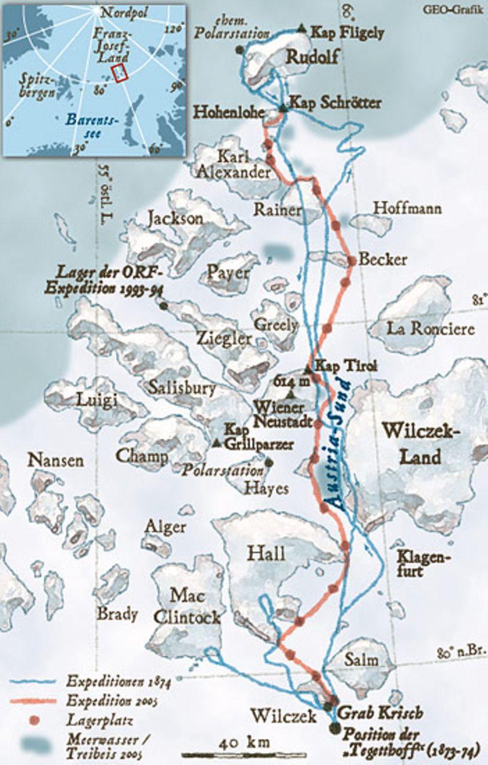 Die 191 Inseln von Franz-Josef-Land bilden die nördlichste Landmasse Eurasiens und gehören heute zu Russland