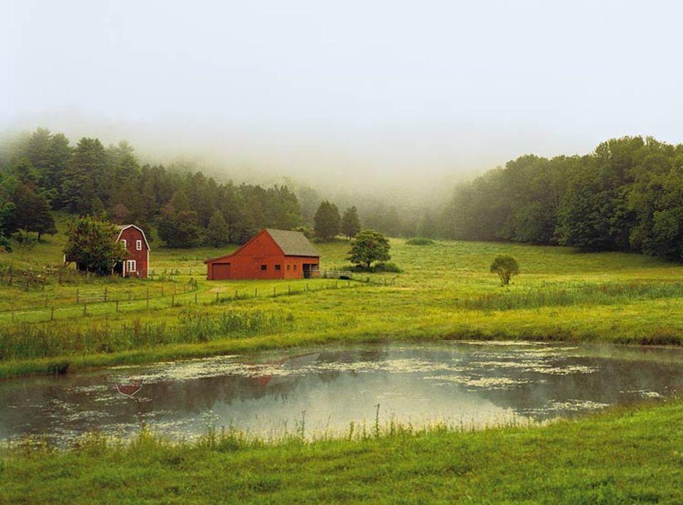 Das Gehöft im ländlichen Massachusetts liegt unweit des Museumsdorfes Hancock Shaker Village - und wirkt wie ein Teil dieser langsam verblassenden Kultur