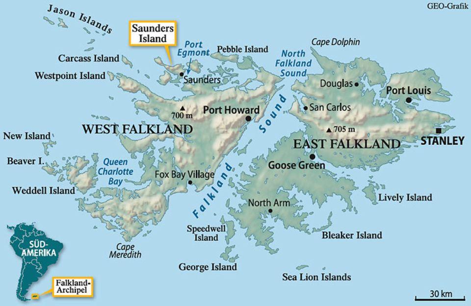 Das Falkland-Archipel, 4000 Kilometer vom Südpol entfernt, hat rund ums Jahr ein raues Seeklima