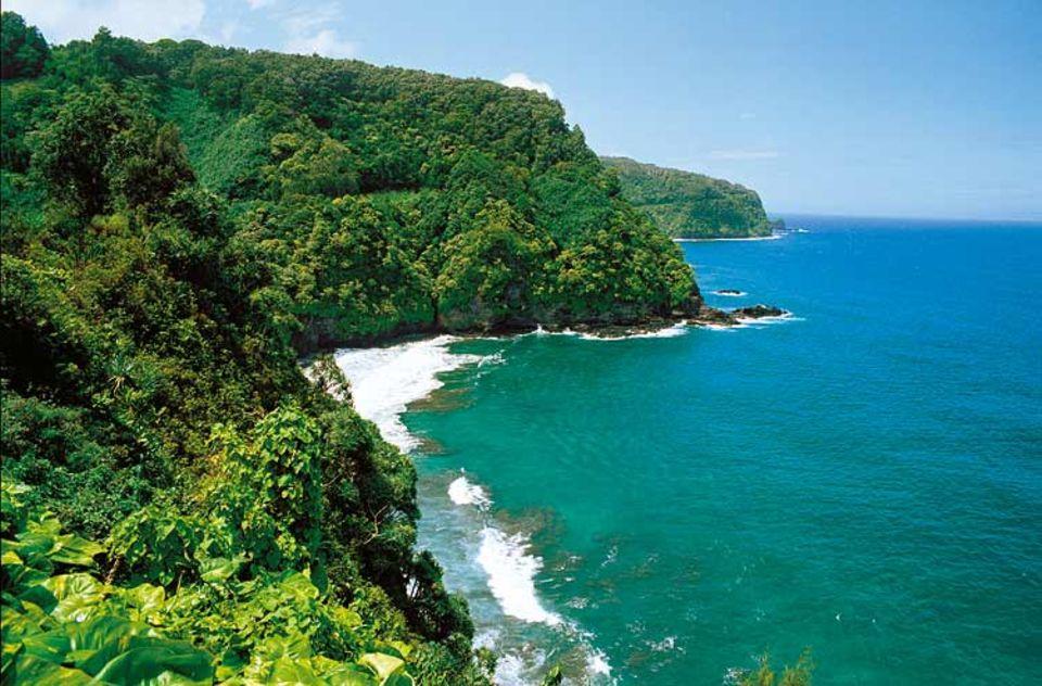 Durch üppig wucherndes Grün schlängelt sich an der Nordseeküste Mauis die Straße nach Hana - 56 Brücken, 600 Kurven, dann ist eines der Zentren des anderen Hawaii erreicht