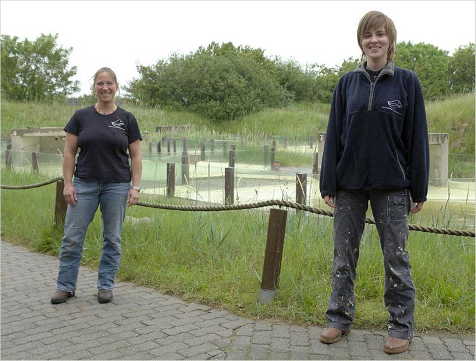 Heuler: Stationsleiterin Tanja Rosenberger und die Praktikantin Kerstin kümmern sich um die Heuler