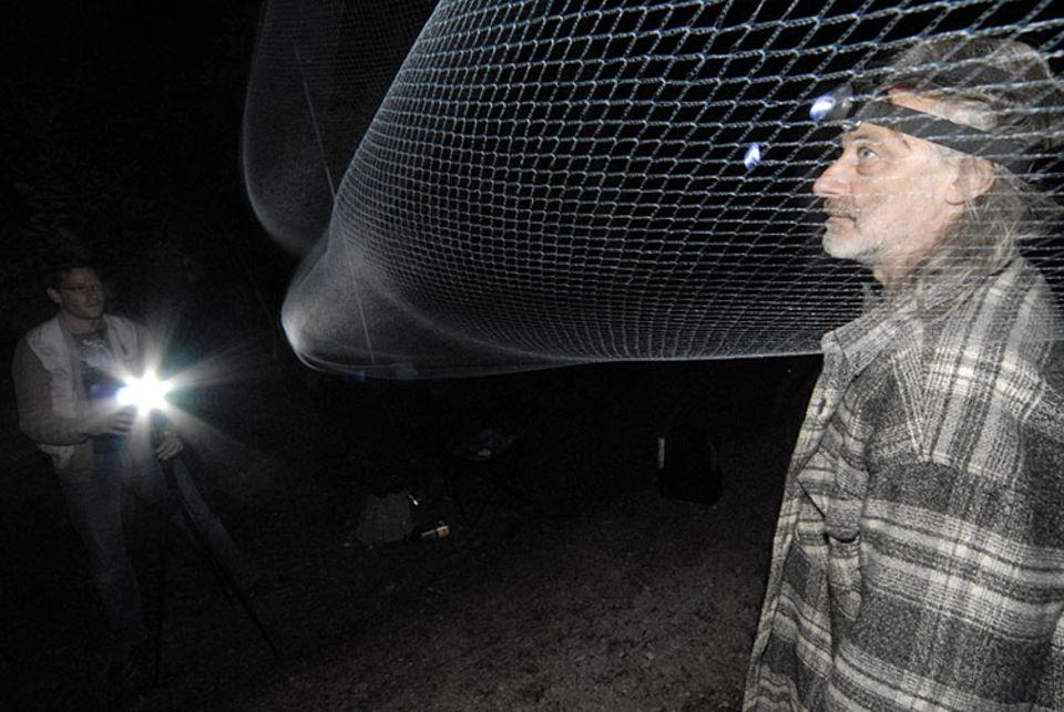Thomas Faulstich-Warneyer kontrolliert ein haarfeines Netz. Noch hat sich keine Fledermaus darin verfangen