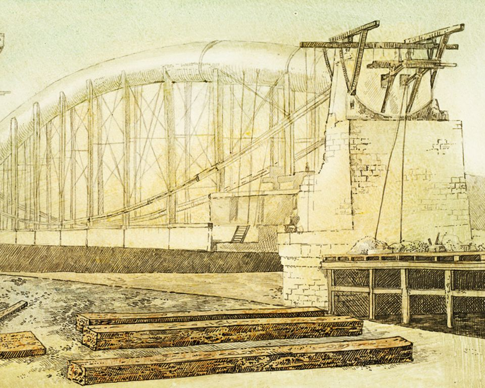"""Geschichte: Schrittweise nach oben: Beim Bau der """"Royal Albert Bridge"""" heben die Arbeiter die mächtigen Eisenträger immer nur ein Stück weit an, während sie den Pfeiler darunter weiterbauen. Bis die Brücke fertig ist, dauert es fünf Jahre"""