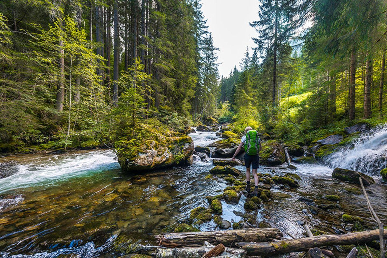Einem Bach oder Fluss bis zur Quelle folgen
