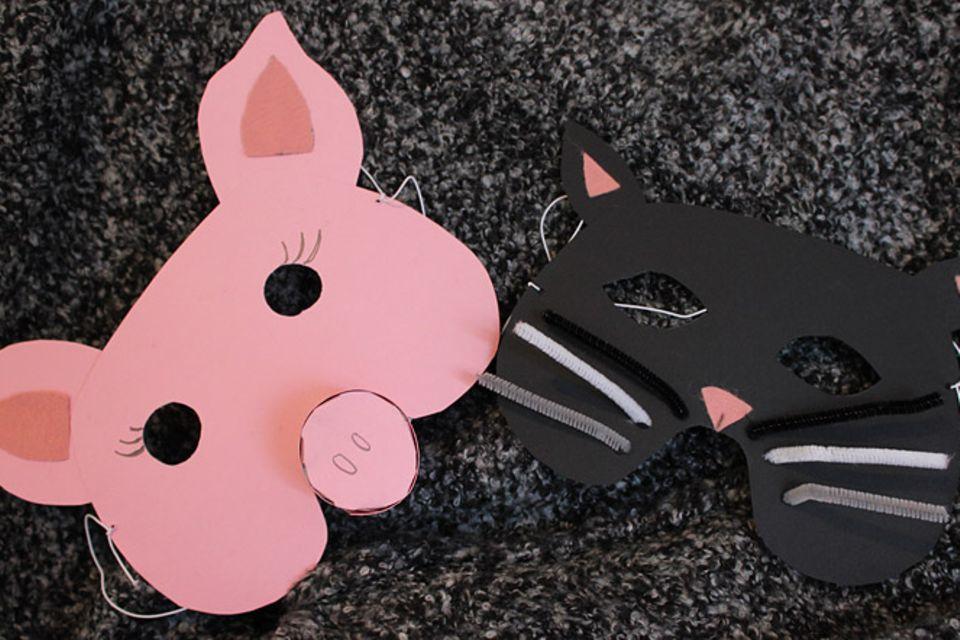 Karneval: Schweinchen-Maske aus Pappe
