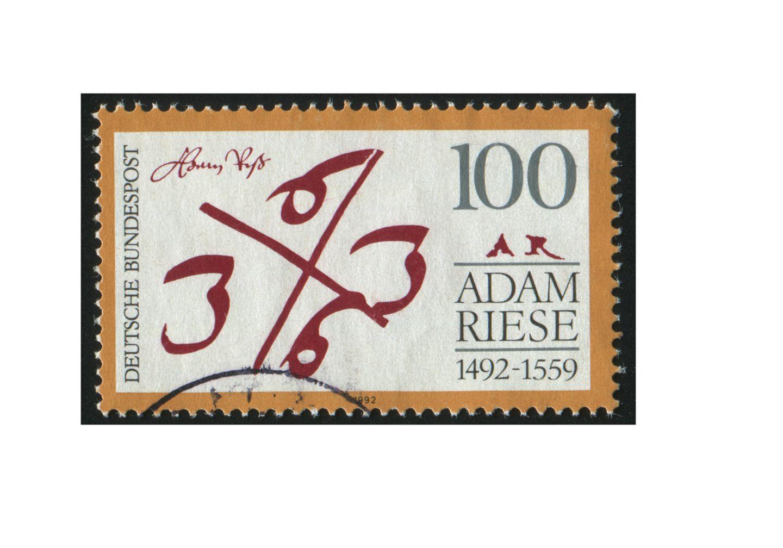 Redewendung: Briefmarke der Deutschen Post aus dem Jahr 1992 - zum 500. Geburtstag des Rechenmeisters Adam Ries