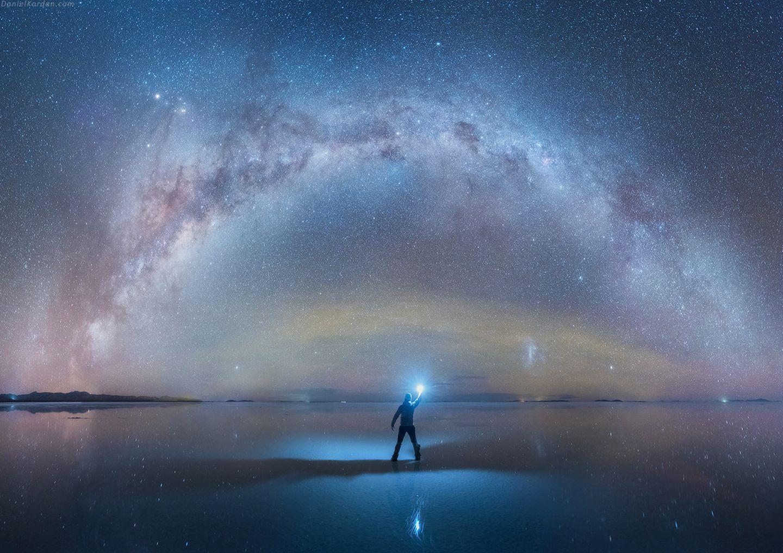 Salar de Uyuni reflektiert die Milchstrasse