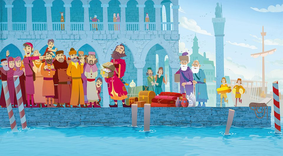 Die Reise nach China: Niemand in Venedig weiß, wer die drei Gestalten sind, die im Jahr 1295 mit ihrem Schiff im Hafen festmachen. Erst als sie die aus China mitgebrachten Kostbarkeiten auspacken, werden die Polos erkannt