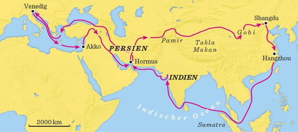 Die Reise nach China: Rund 10.000 Kilometer liegen zwischen Marco Polos Heimatstadt Venedig und dem Osten Chinas. Allein die Hinreise dauert dreieinhalb Jahre, für den Rückweg brauchen sie noch einmal vier Jahre