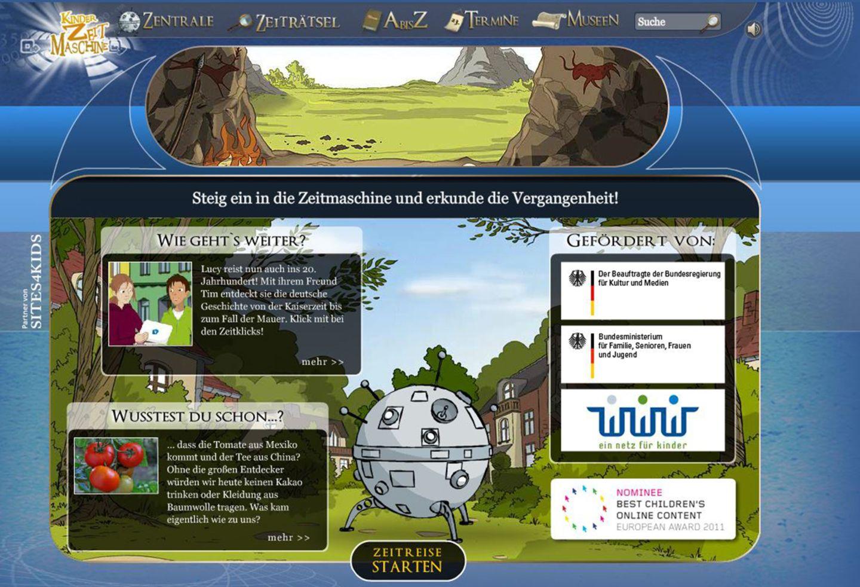 Kinderzeitmaschine: Die Webseite Kinderzeitmaschine.de