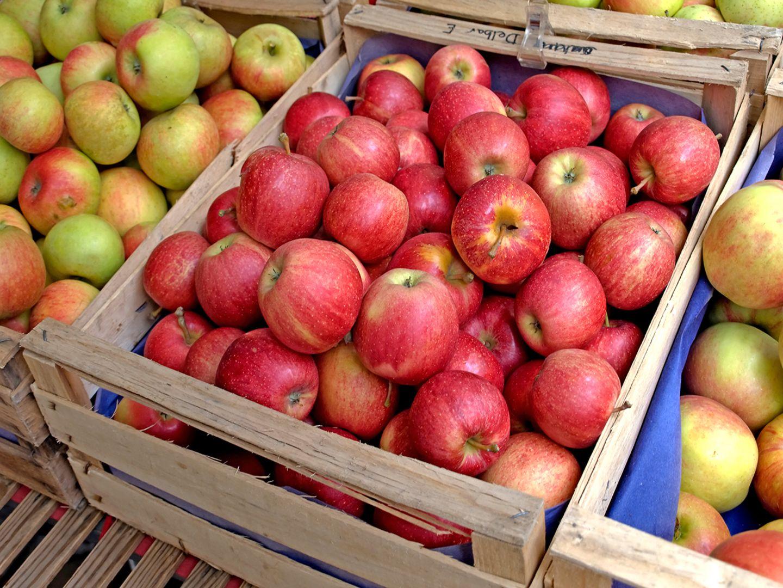 Äpfel in Obstkisten