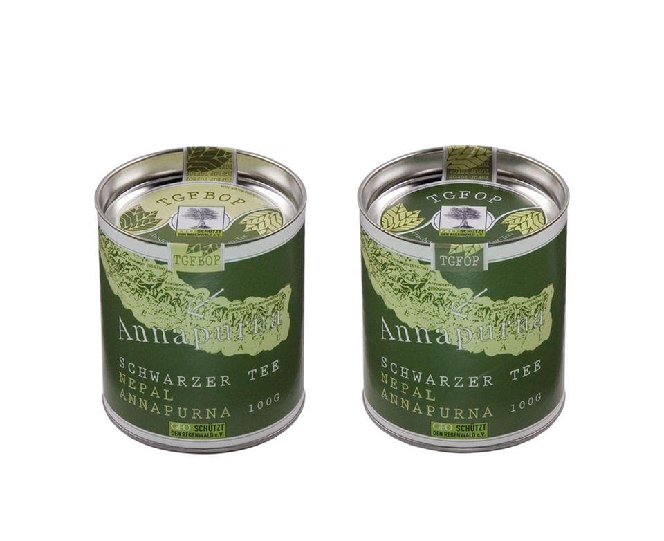 Schwarzer Annapurna-Tee in der dekorativen 100g-Dose
