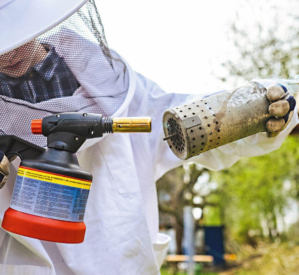 Imker arbeitet mit dem Smoker, um die Bienen zu beruhigen