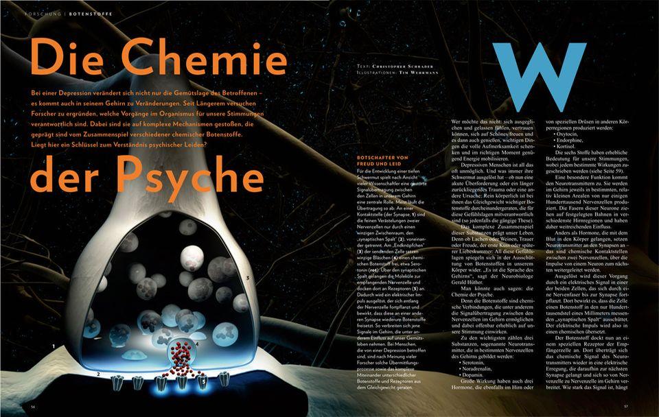 Gehirn: Wie die komplette Chemie der Psyche funktioniert und wie die Analyse chemischer Botenstoffe das Verständnis psychischer Leiden verbessert, finden Sie in der aktuellen Ausgabe von GEO WISSEN Gesundheit heraus - hier direkt bestellen